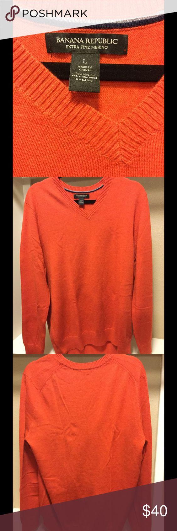 BananaRepublic. V-Neck Merino sweater. Orange. L BananaRepublic. V-Neck Merino sweater. Orange. Size Large. Never worn Banana Republic Sweaters V-Neck