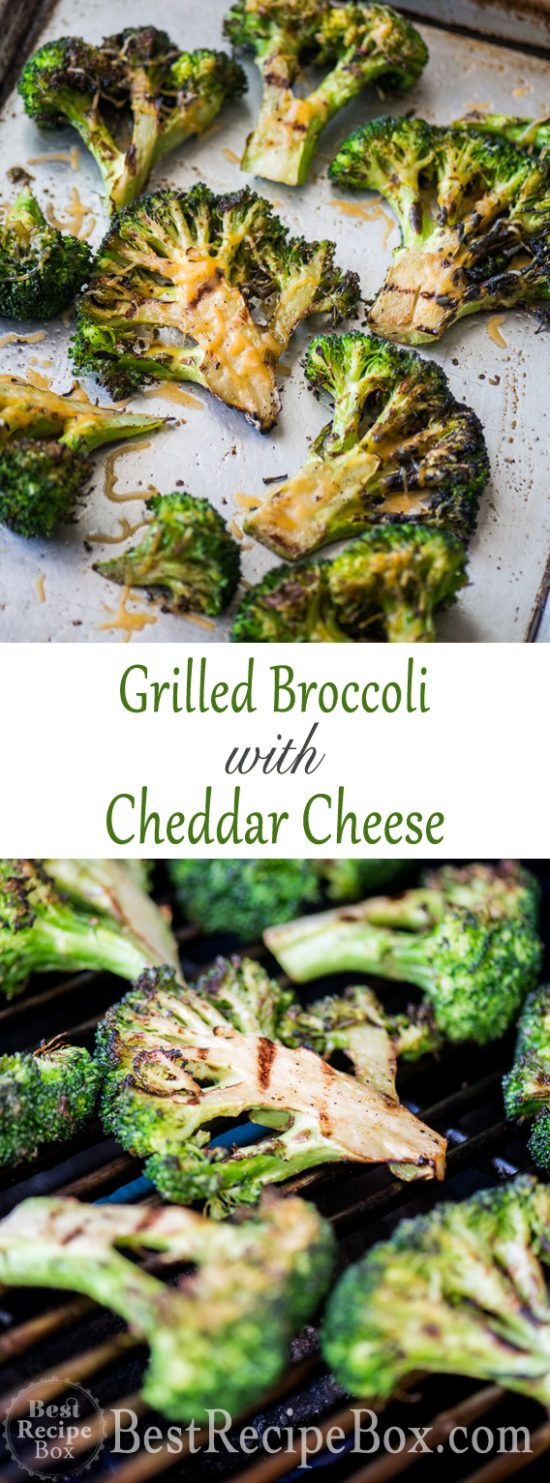 Grilled Broccoli Recipe On Bbq With Garlic And Cheddar Cheese Recipe Grilled Broccoli Broccoli Recipes Recipes