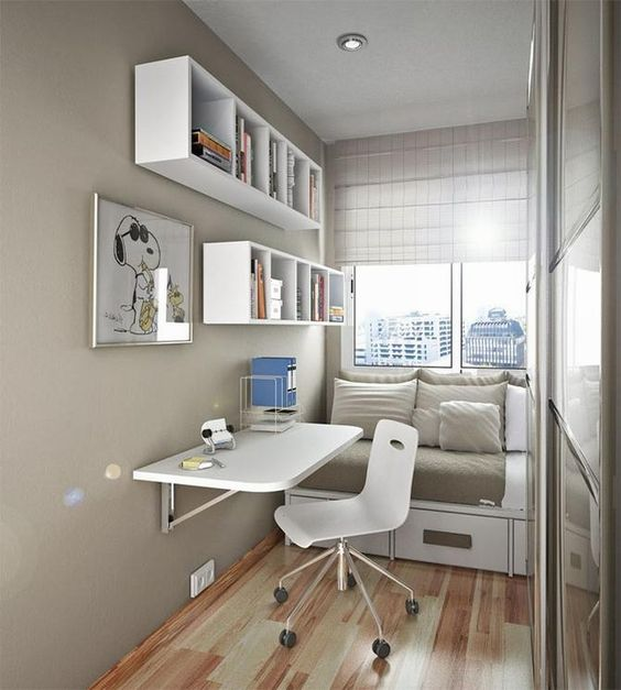 interior design for small room - Wall mounted bookshelves, Small space bedroom and Small spaces on ...