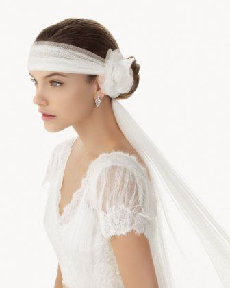 Custom wedding veil model - for kristin. like a headband that you tie at the bottom!