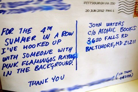postcard sent to Atomic Books in Baltimore (where John Waters receives fan mail)