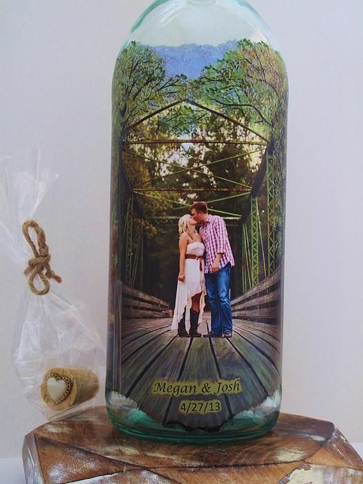 Wedding gift wine bottle crafts mixed media by kris for Wine bottle crafts for sale
