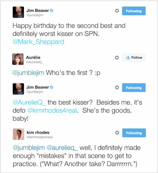 #JimBeaver wishing #MarkSheppard a happy birthday (5/30/2014) on Twitter.