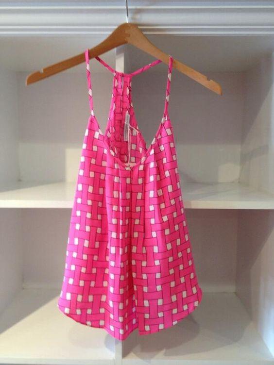 Cute pink gingham print Amanda Uprichard tank!