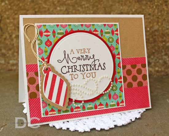 Handmade Christmas card by Debbie Carriere using the Merry and Bright set from Verve. #vervestamps