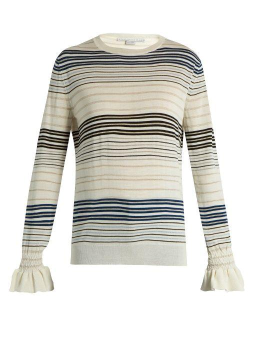 STELLA MCCARTNEY Ruffled-Cuff Striped Wool Sweater. #stellamccartney #cloth #sweater
