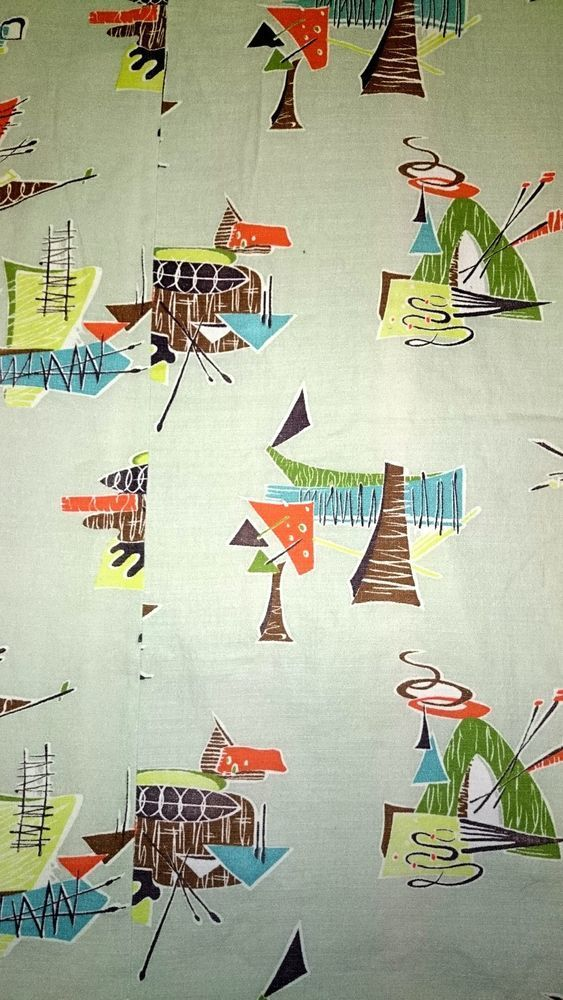 Nice colourful '50s shapes in these barkcloth curtains