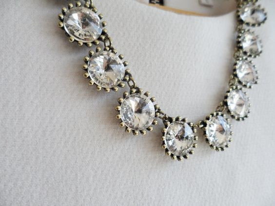 Clear Jewel Crystal Bling Statement Necklace by AnneEmmaJewelry