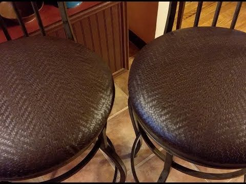 Quick And Easy Re Cover A Stool Or Chair Seat Youtube With Images Bar Stool Makeover Round Bar Stools Recovering Chairs