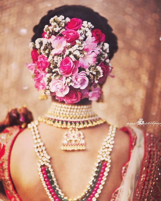 Instagram Alert Fresh Flower Hairstyles Super Pretty Ways To Use Flowers In Your Hair Witty Vows Bridal Hairstyle Indian Wedding Indian Bridal Hairstyles Bridal Bun