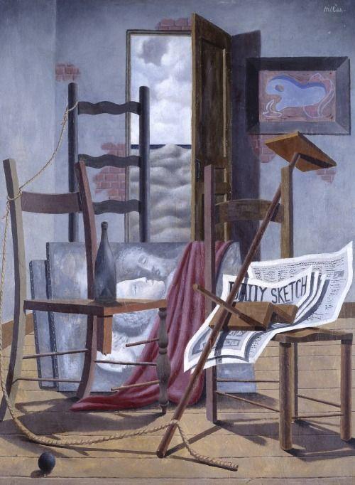 Tristram Hillier (British, 1905-1983), Composition 1933 (Interior), 1933. Oil on plywood, 69.8 x 54.6cm. Tate.