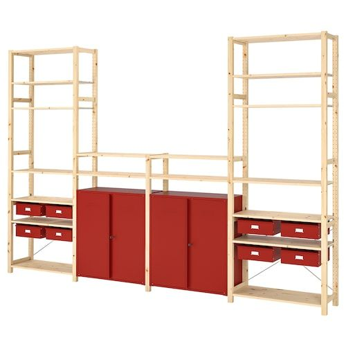 Ivar Regal Mit Schranken Schubladen Kiefer Rot Ikea Deutschland Ikea Ivar Shelves Modular Furniture Red Shelves