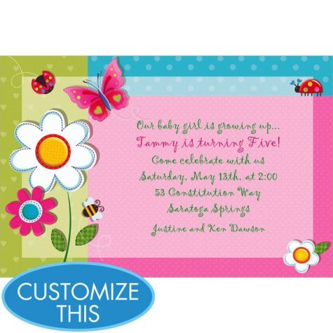 Garden Girl Custom Invitation Girls Birthday Invitations – Girl Photo Birthday Invitations