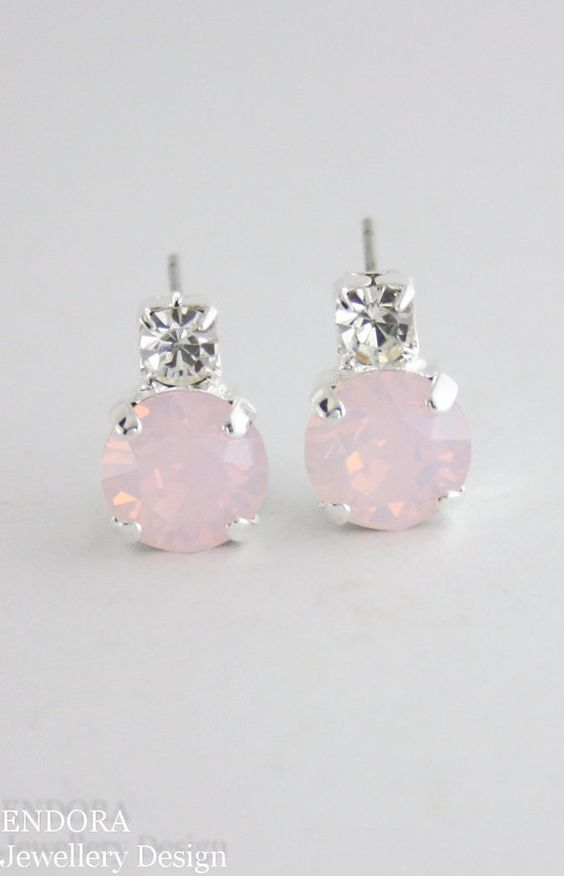 Swarovski rose water opal | rose quartz earrings | rose quartz wedding | pink…