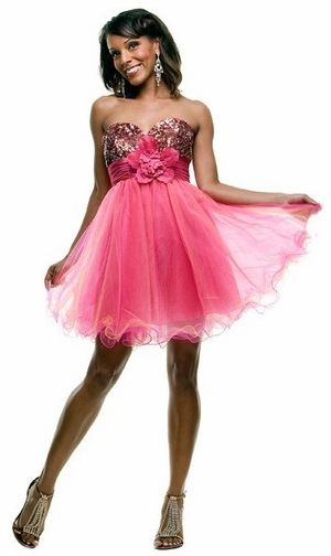 Hot Pink Cocktail Dress Prom Dress Strapless Tulle Skirt Pink Sequin: