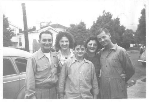 Black and White Vintage Snapshot Photograph Family Hug Car Dress Boy 1940's