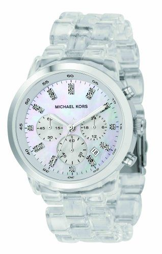 Michael Kors Quartz, Mother of Pearl Dial Acrylic Clear Band - Womens Watch $300-The one I want