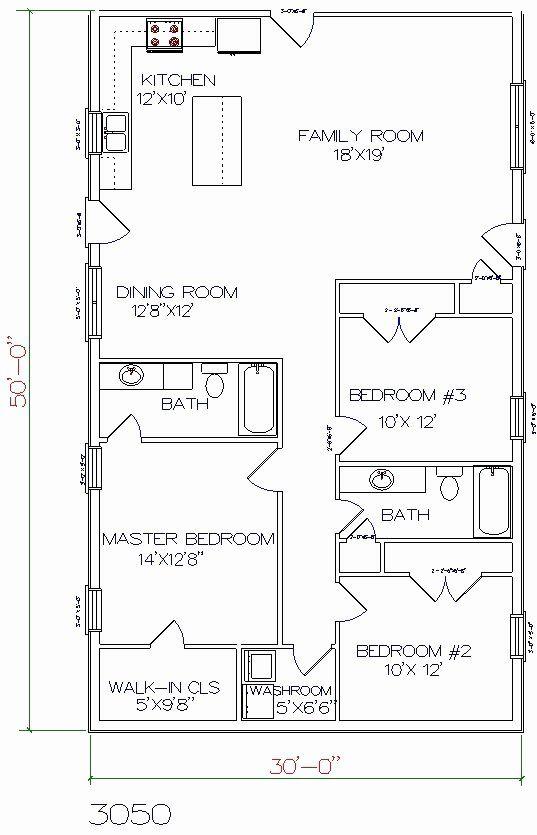 2 Bedroom Barn House Plans New 30 X 60 House Plans Architectural Barndominium Floor Plans House Plans House Floor Plans