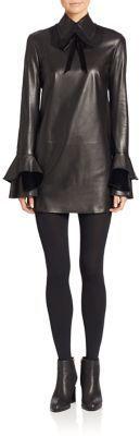 Ralph Lauren Collection Laverne Leather Dress, schwarz, black, Leder Outfits, Ledermode, Leather, Fashion, Dress