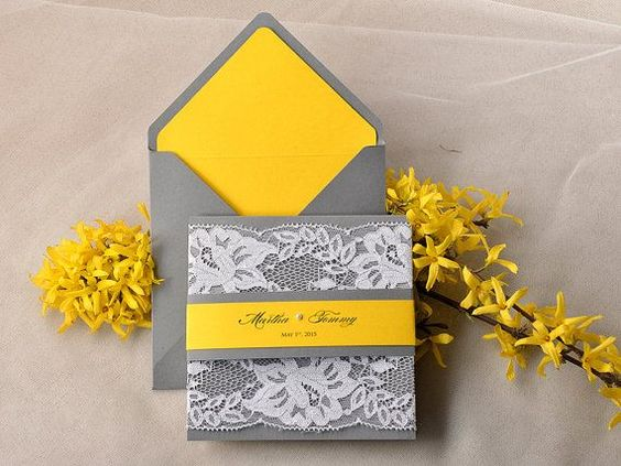 Spring Yellow and Grey Lace  Wedding Invitation, Pocket Fold Wedding Invitations , Fresh wedding invitation