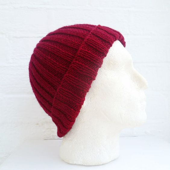 Men's Wool Ribbed Beanie Hand Knit Hat Men's by Clickclackknits, £26.00