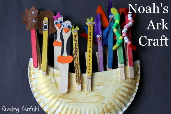 Noah's Ark made from paper plate, clothes pins and popsical sticks. Add googly eyes, beeds, feathers etc