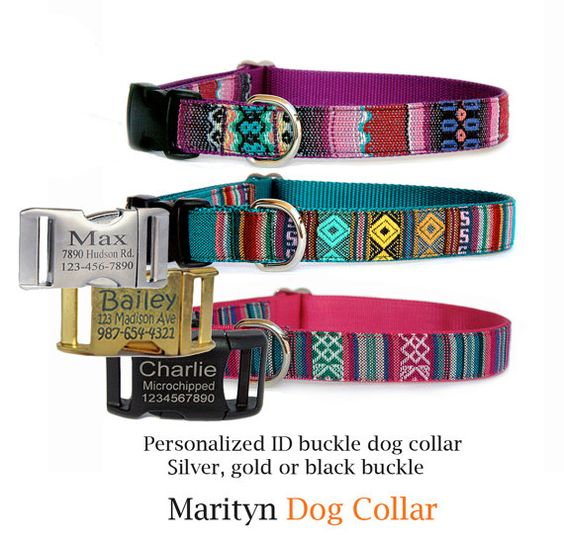 Personalized dog collar Engraved ID tag buckle pet collar Adjustable embroidered dog collar Boho, Tribal Navajo style girl boy dog collar