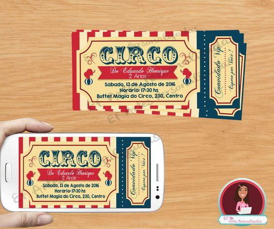 Convite Digital Circo, convite impresso, circo, circus