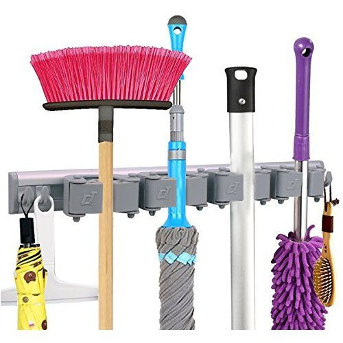 Mop Broom Holder Broom Wall Mounted Hooks Free Combination Rubber Grip Pole Holder Garden Tool Rack Storage Wall Mounted Hooks Garden Tool Rack Broom Holder