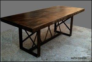 Table industrielle style Eiffel : vente meuble de métier loft, mobilier industriel et vintage