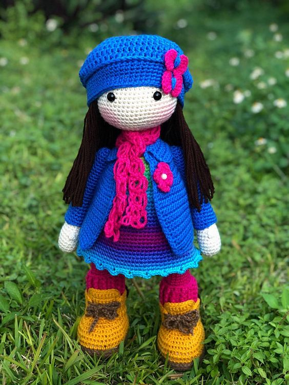 Amigurumi Doll. This beautiful and lovely amigurumi doll is great for the stuffed doll lover, It is 19 Inches tall, its made with acrylic yarn, the hat, scarf and coat of the doll are removable. Important: This Item is made to Order. Please allow me 6-8 Business day for your Item to be
