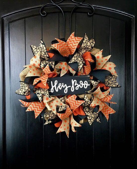 Halloween Wreath Handpainted Witch Boo Ya/'ll Mesh Wreath Fall Wreath Witch Wreath Autumn Wreath Front Door Decor