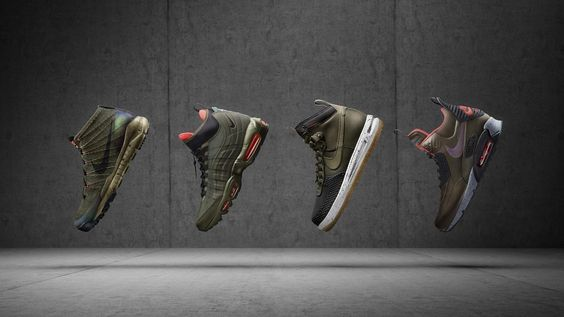 The #Nike SneakerBoots Holiday 2015 Mens Collection hits stores November 5th! From left to right: Flyknit Trainer Chukka SneakerBoot, Air Max 95 SneakerBoot, Lunar Force 1 DuckBoot, Air Max 90 SneakerBoot