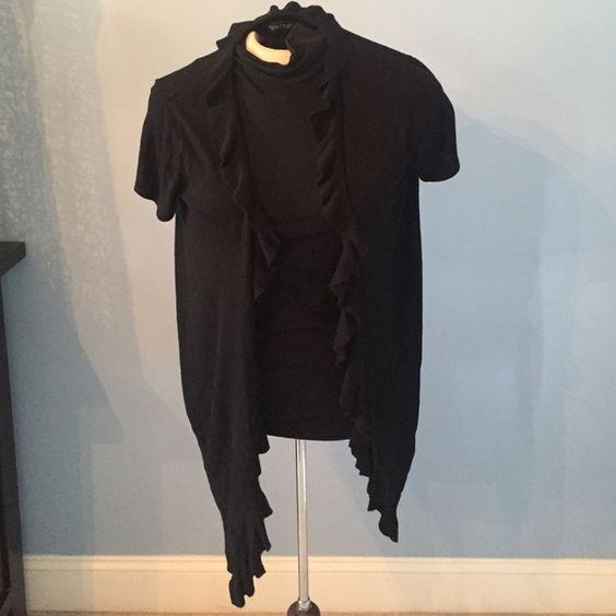 White House Black Market black shirt sleeve XL Ruffled short sleeve sweater from WHBM sz XL black White House Black Market Tops