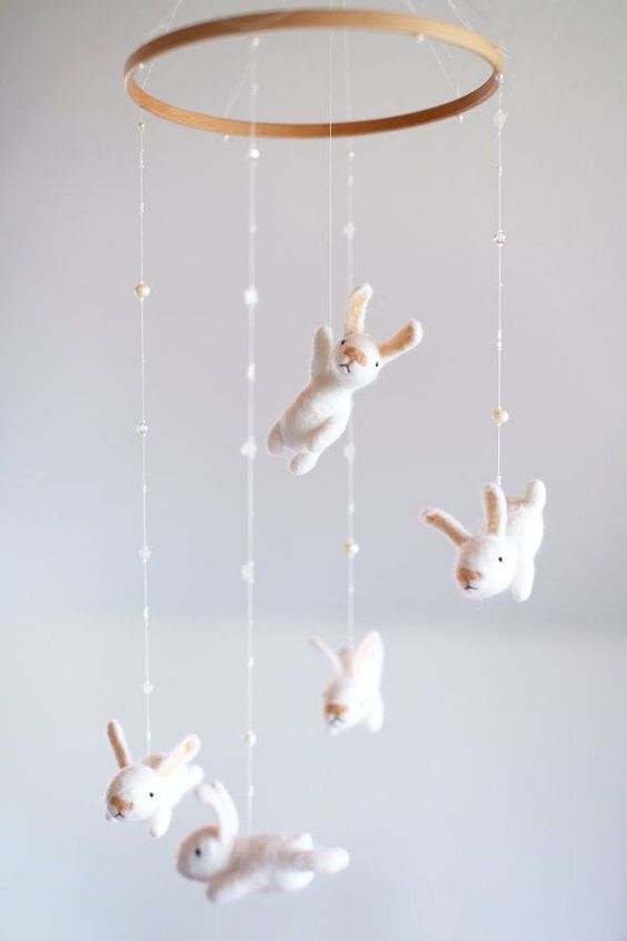 custom nursery mobile with an EXTRA white bunny  by MistrSandman