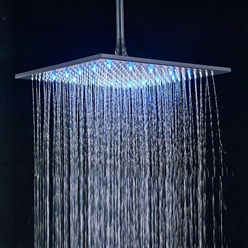 Rozin Led Light 16 Inch Rainfall Shower Head Bathroom Square Top Sprayer Oil Rubbed Bronze Black Review Rainfall Shower Head Shower Heads Led Lights
