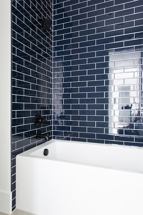 Navy Blue Tiles With White Drop In Bathtub Bathroom Interior Bathroom Interior Design Bathrooms Remodel