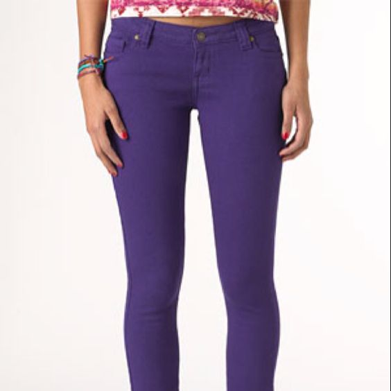 My first pair of colored skinnys for spring! A must have royal plum by Morgan by dELiA's jeans <3