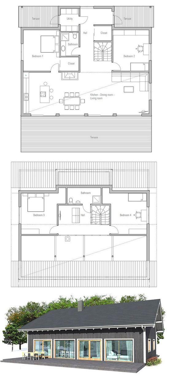 House plan from floor plans pinterest for Small terrace house design
