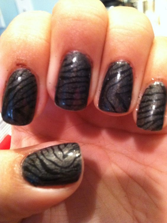 Shellac Nails done at home with Red Carpet Manicure products and zebra stripes done with Salon Express nail kit!
