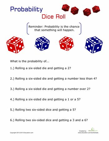probability dice articles printables and fifth grade. Black Bedroom Furniture Sets. Home Design Ideas