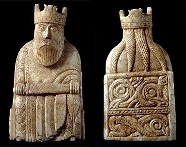 kingfrontback384x304.jpg (384×304) King, Chessmen from Isle of Lewis; dragon is bottom panel of back of throne. 12th century.: