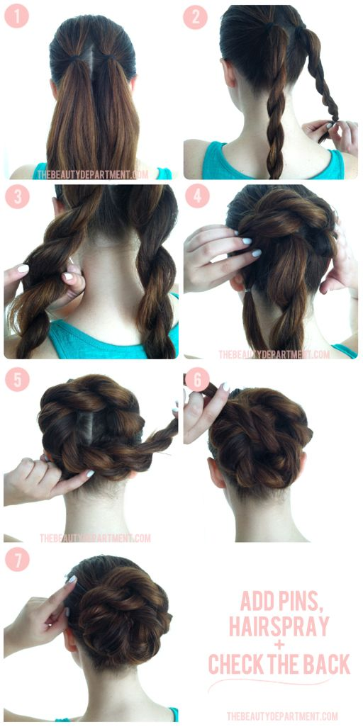 Bulk up a boring bun with 2 rope braids.