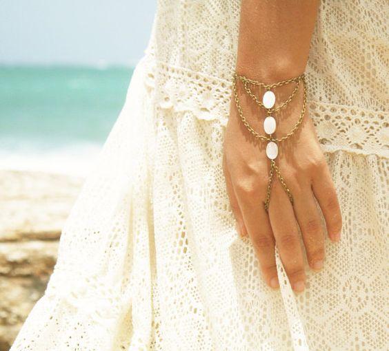 Slave Bracelet Hand Bracelet  Piece Hipster Bronze Chain Bohemian  Mother  Pearl Beads Triangle Hand Jewelry Bridal BRChloeMOP