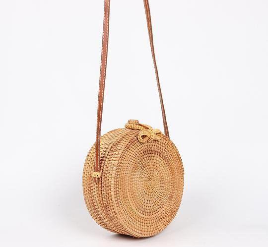 Straw Crossbody Bag Beach Bag Circle Straw Bag Handmade Straw Bag Boho Bag Round Straw Bag Straw Purse Round Straw Basket Rattan Bag