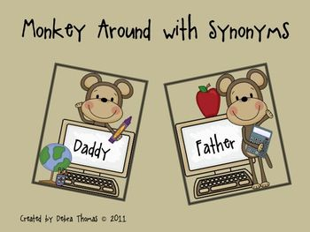 If you thought Monkey Around with Antonyms was fun you will definitely enjoy these cute little monkeys as well.  ...Repinned by SOS Inc. Resources.  Follow all our boards at http://pinterest.com/sostherapy  for therapy resources.