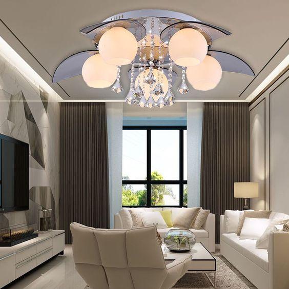 5 flammig Dimmbar LED Kristall Design Deckenleuchte Büro - deckenlampen wohnzimmer led
