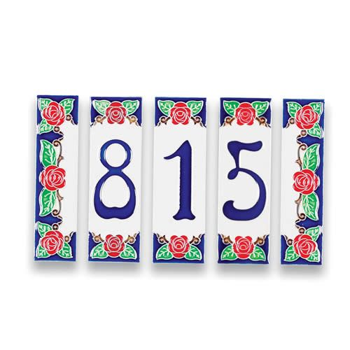 amalfi house number and end tiles rose