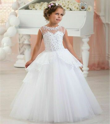 Ivory Flower Girl Dress Communion Pageant Party Princess Birthday Bridesmaid New