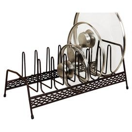 """Open metalwork lid and plate organizer in rust.  Product: Plate and lid organizerConstruction Material: MetalColor: RustDimensions: 6.25"""" H x 14"""" W x 6"""" D"""